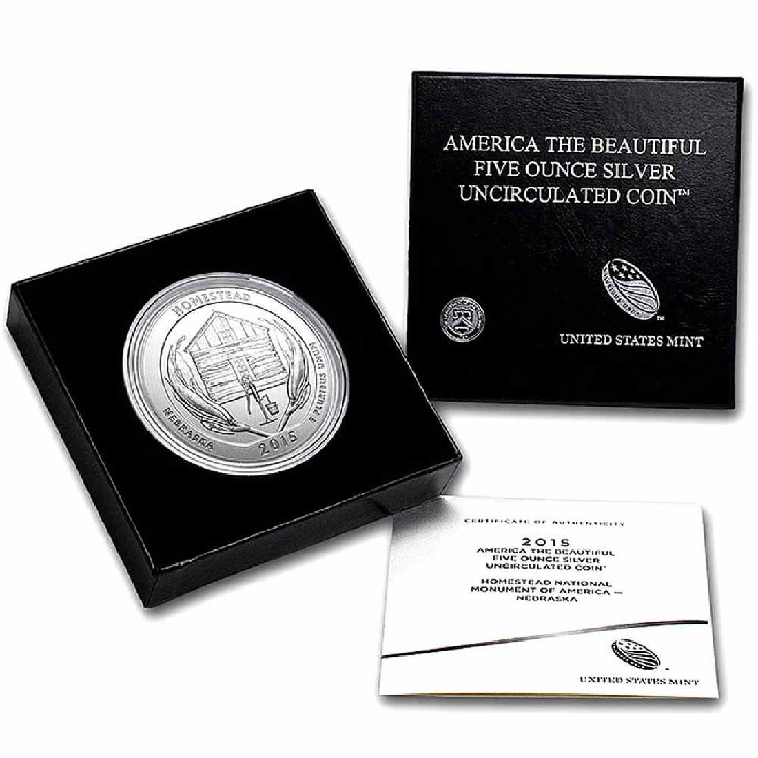 2015-P 5 oz Silver ATB Homestead (w Box and COA)