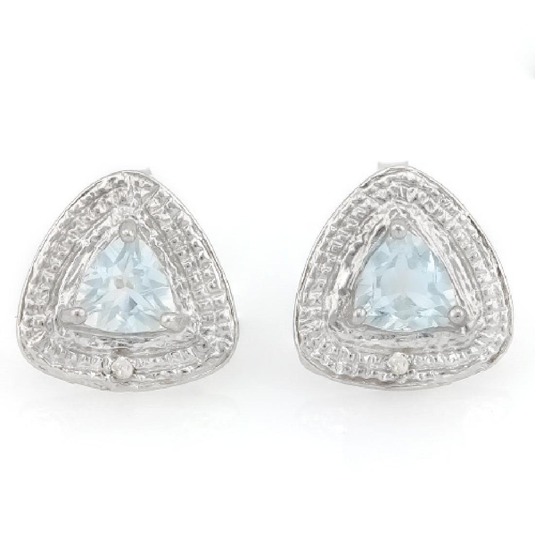 2/3 CARAT AQUAMARINE & DIAMOND 925 STERLING SILVER EARR