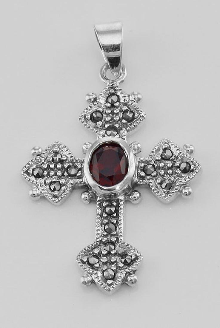 Marcasite Cross Pendant with Garnet - Sterling Silver