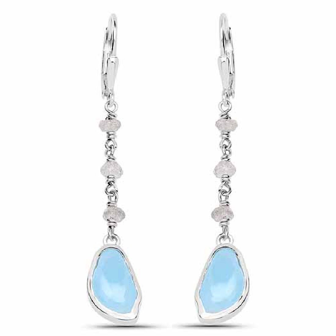 5.53 Carat Genuine Aquamarine and Labradorite .925 Ster
