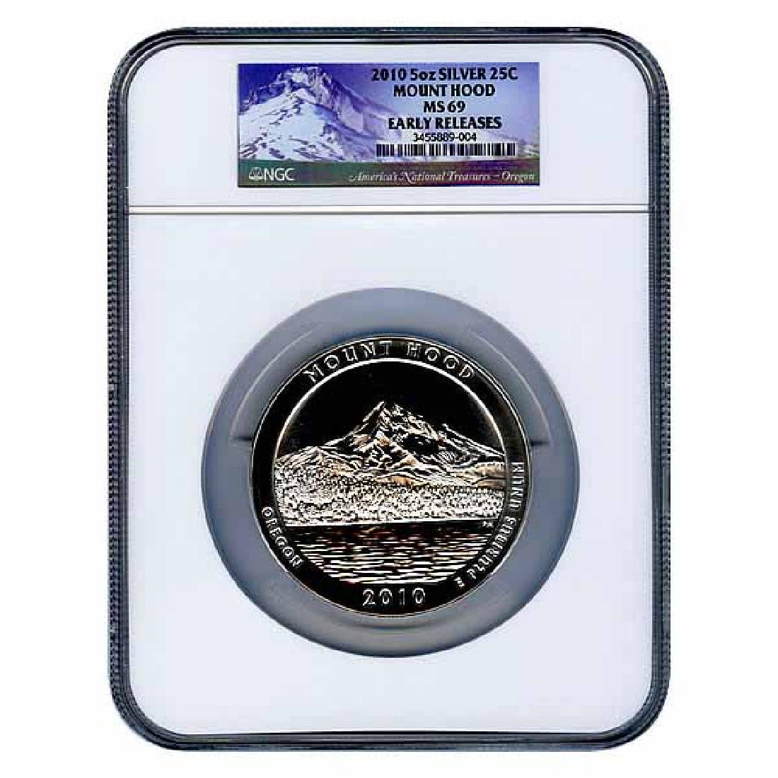 Certified ATB 5 Ounce Bullion NGC Mt Hood MS69 Early Re