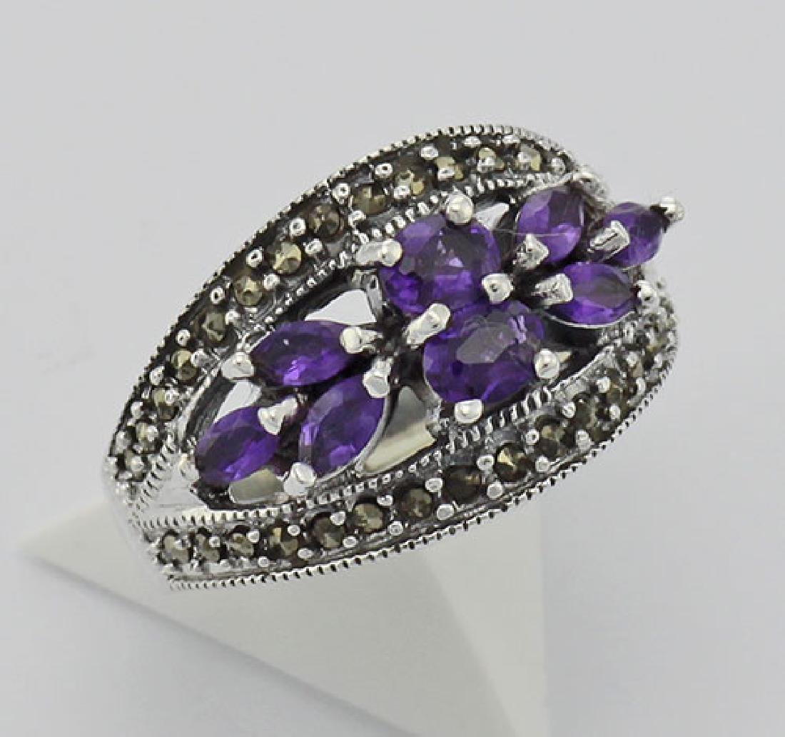 Amethyst Marcasite Ring - Sterling Silver
