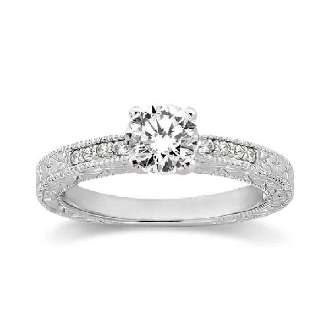 0.60ct Antique Style Diamond Engagement Ring 14K White