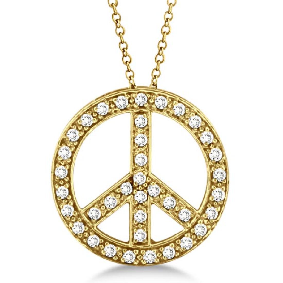 Diamond Peace Sign Pendant Necklace 14k Yellow Gold (0.