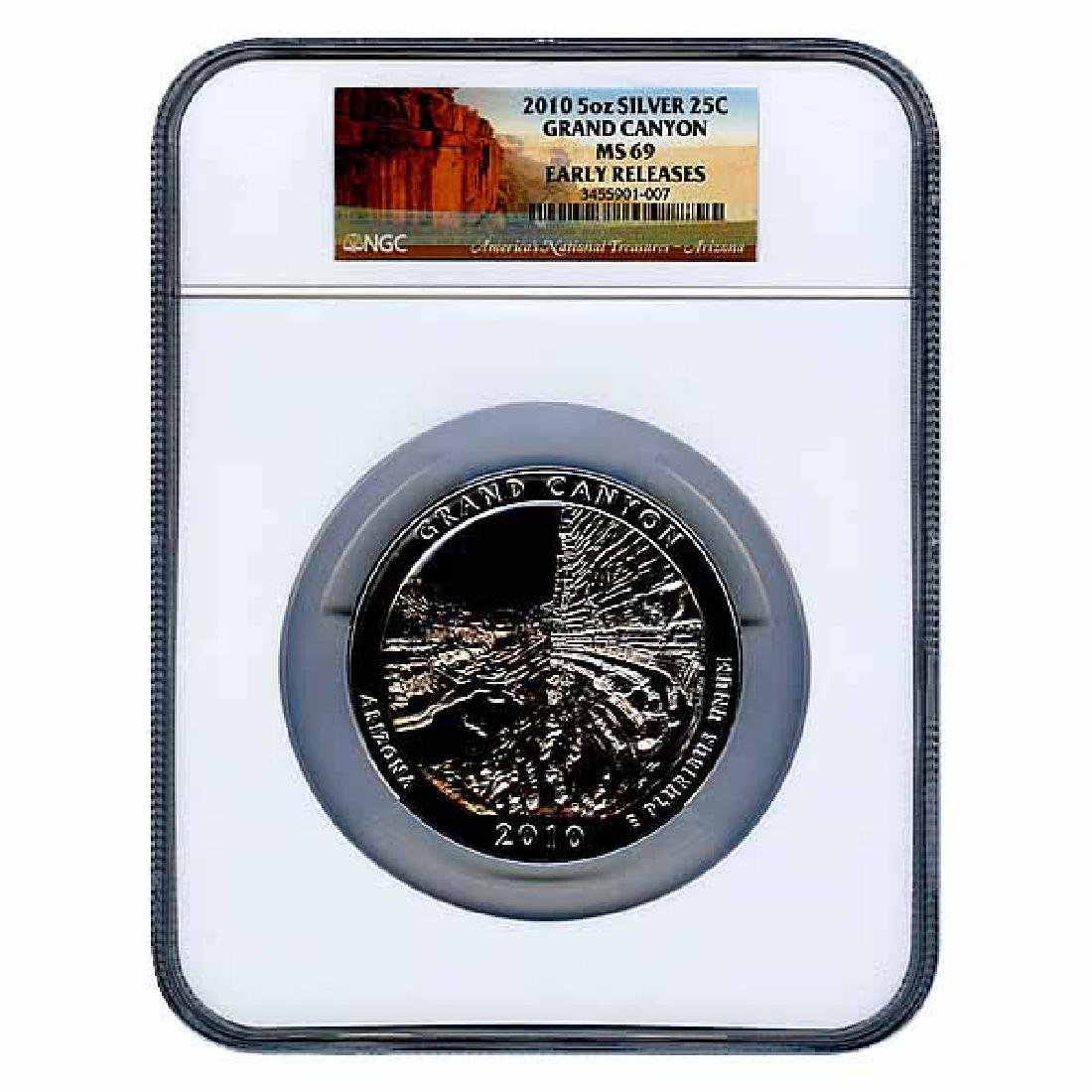 Certified ATB 5 Ounce Bullion NGC Grand Canyon MS69 Ear