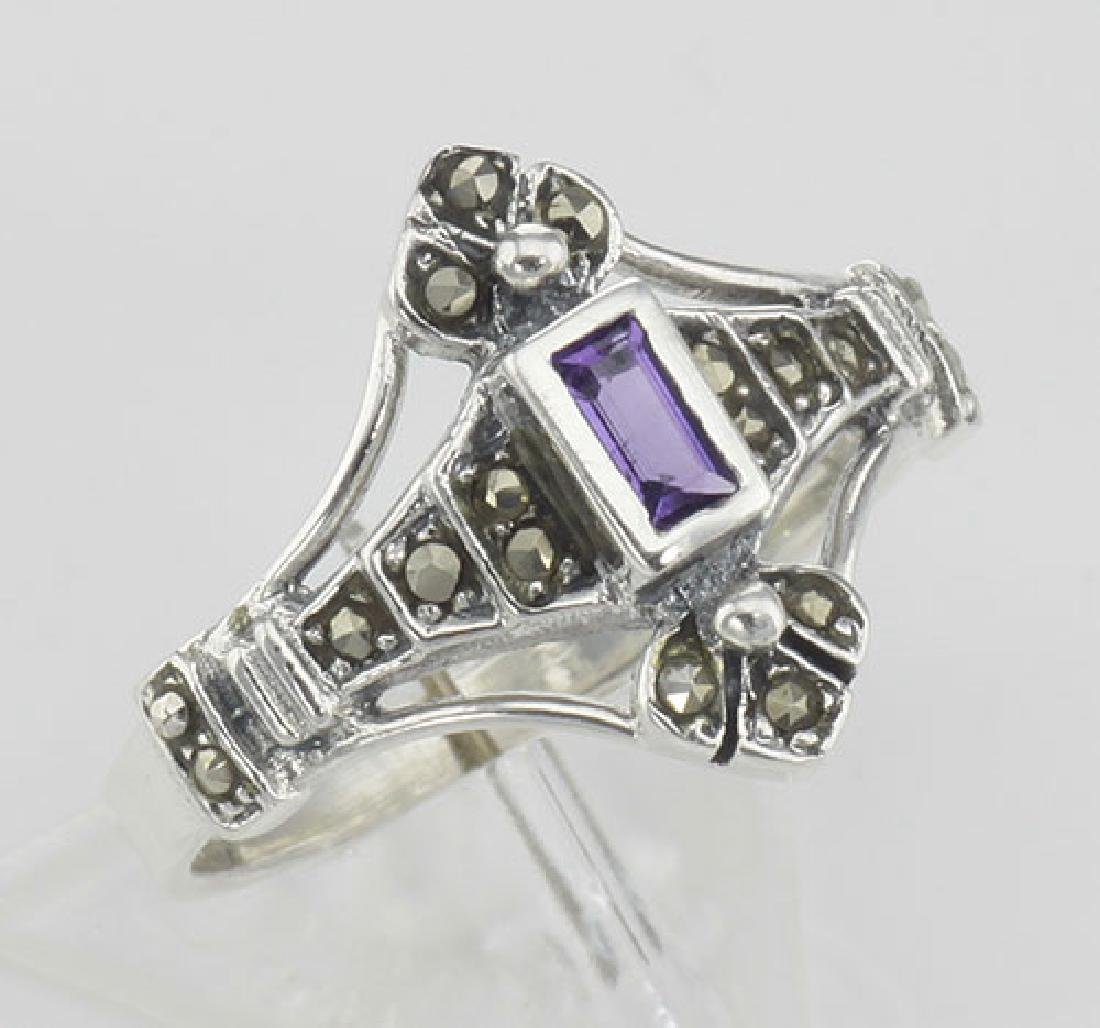 Antique Style Genuine Amethyst and Marcasite Ring - Ste