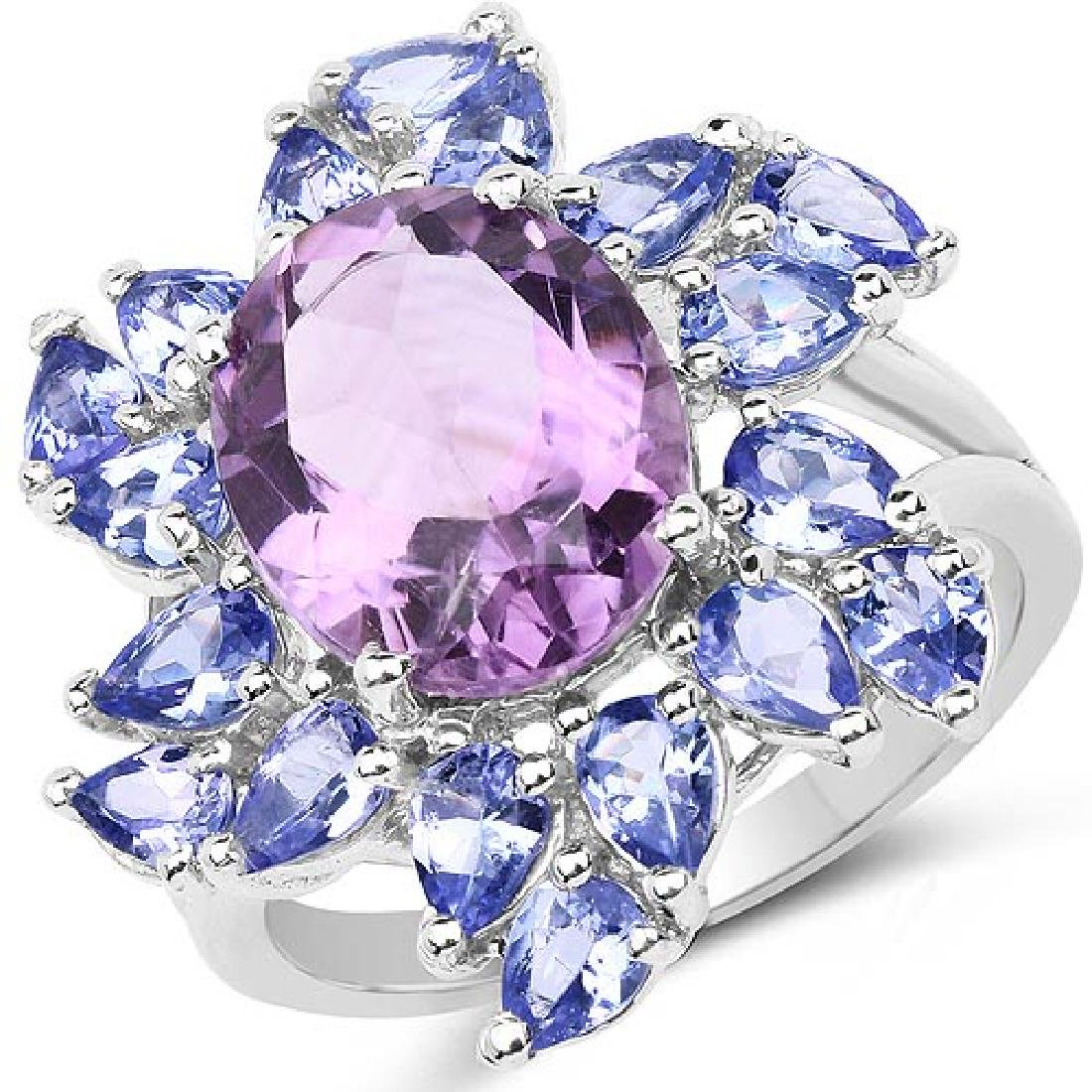 5.72 Carat Genuine Amethyst and Tanzanite .925 Sterling