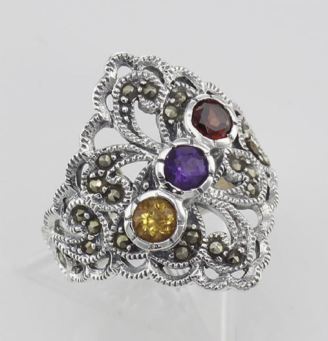 Antique Style Marcasite Multi-Stone Ring - Sterling Sil