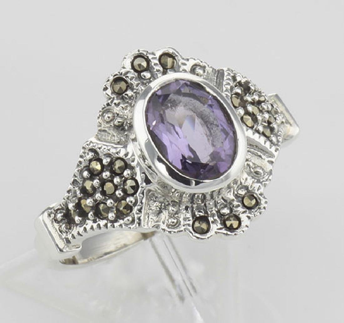 Victorian Style Genuine Amethyst and Marcasite Ring - S