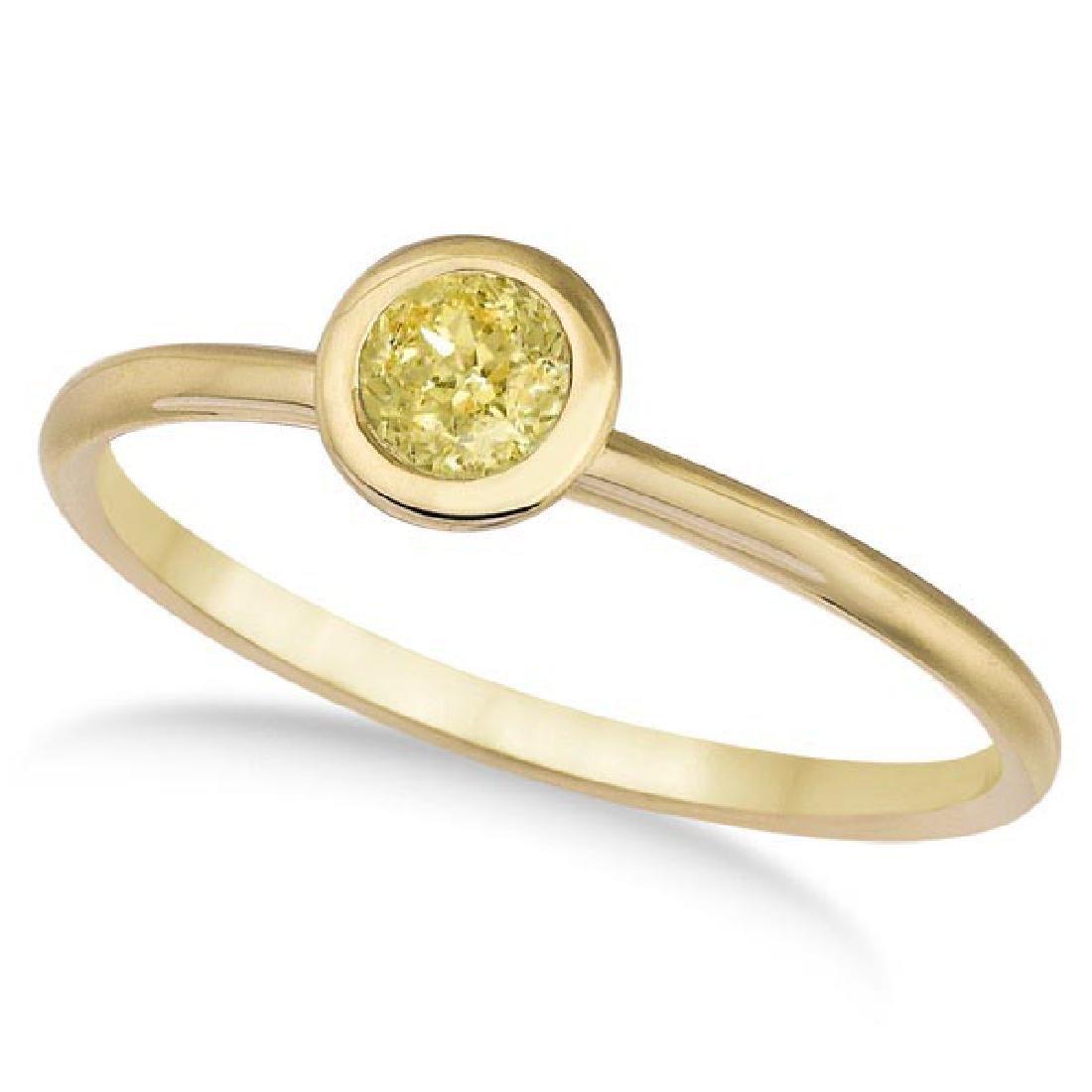 Fancy Yellow Canary Diamond Bezel-Set Solitaire Ring 14