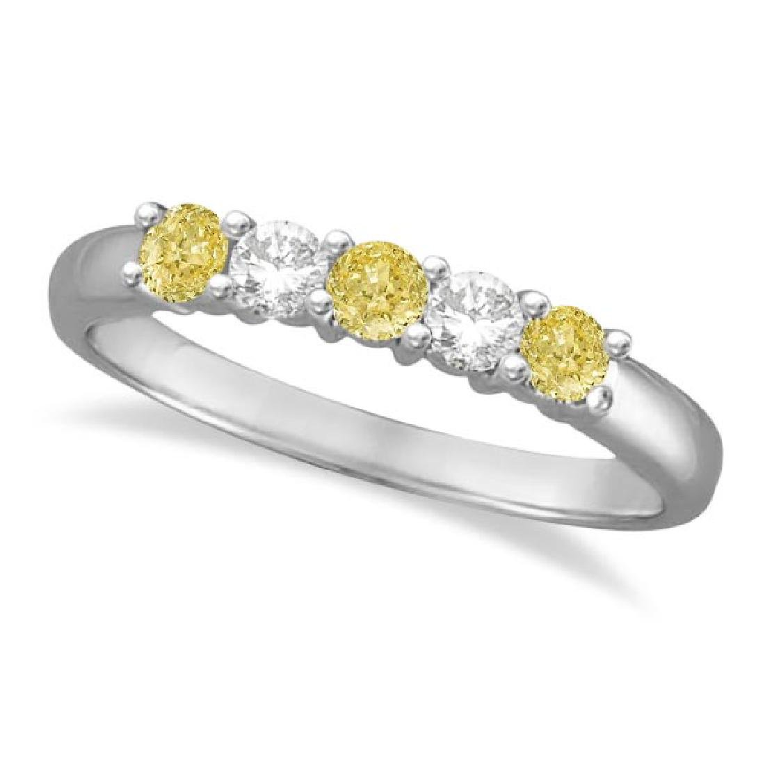 Five Stone White and Fancy Yellow Diamond Ring 14k Whit