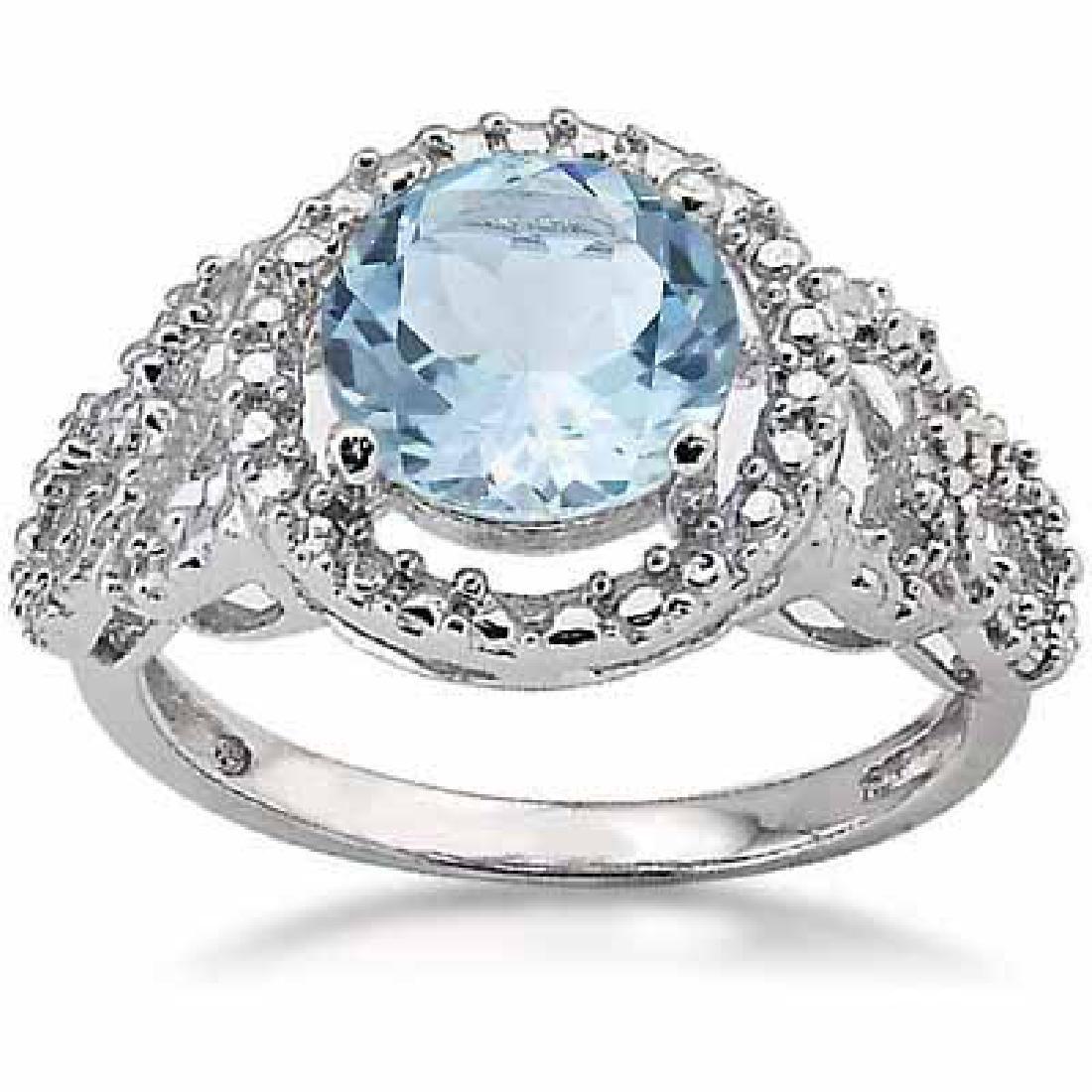2 1/5 CARAT BABY SWISS BLUE TOPAZ & DIAMOND 925 STERLIN