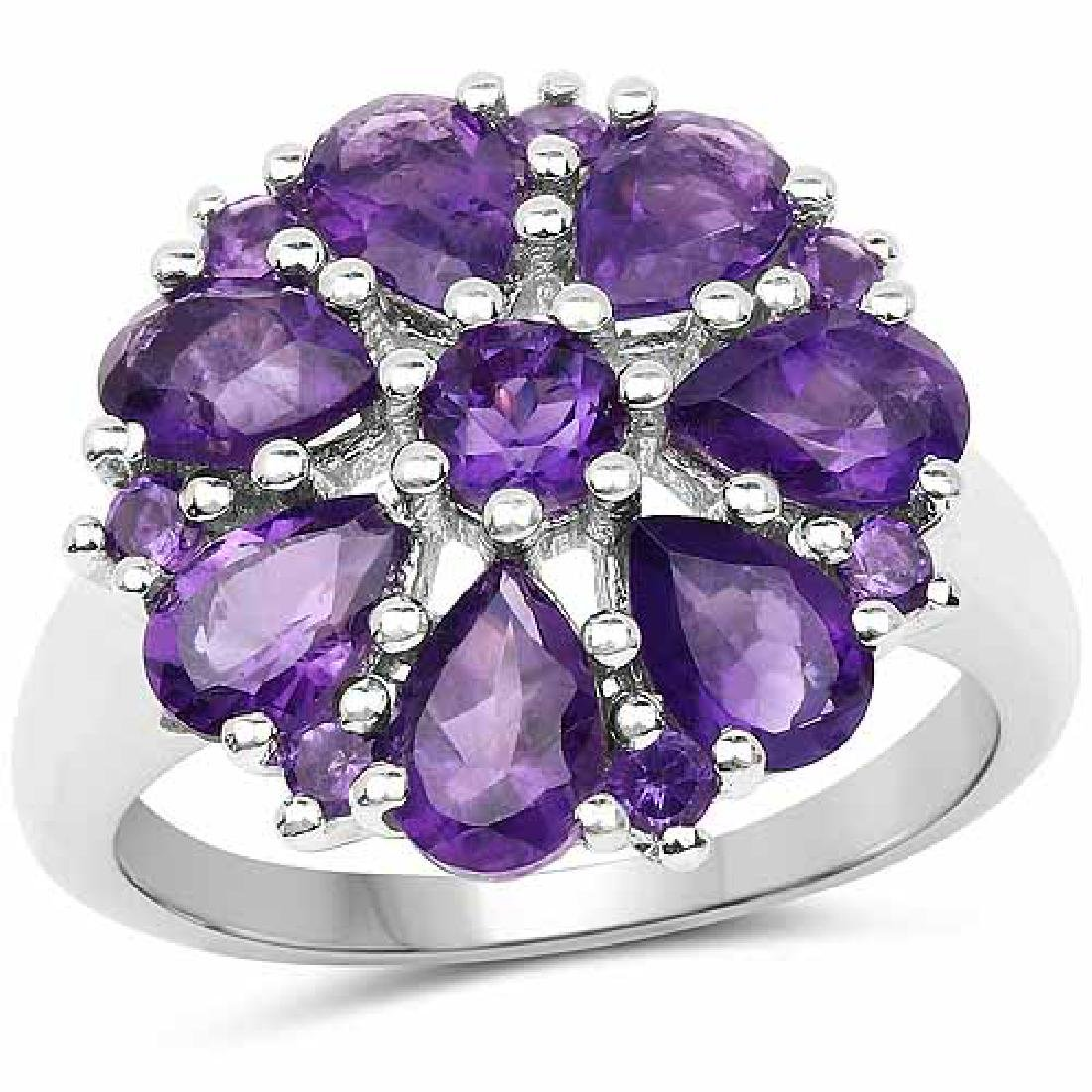 3.04 Carat Genuine Amethyst .925 Sterling Silver Ring