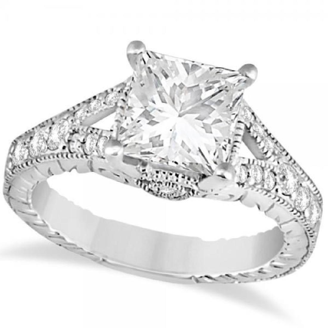 Antique Princess Cut Diamond Engagement Ring 14K White