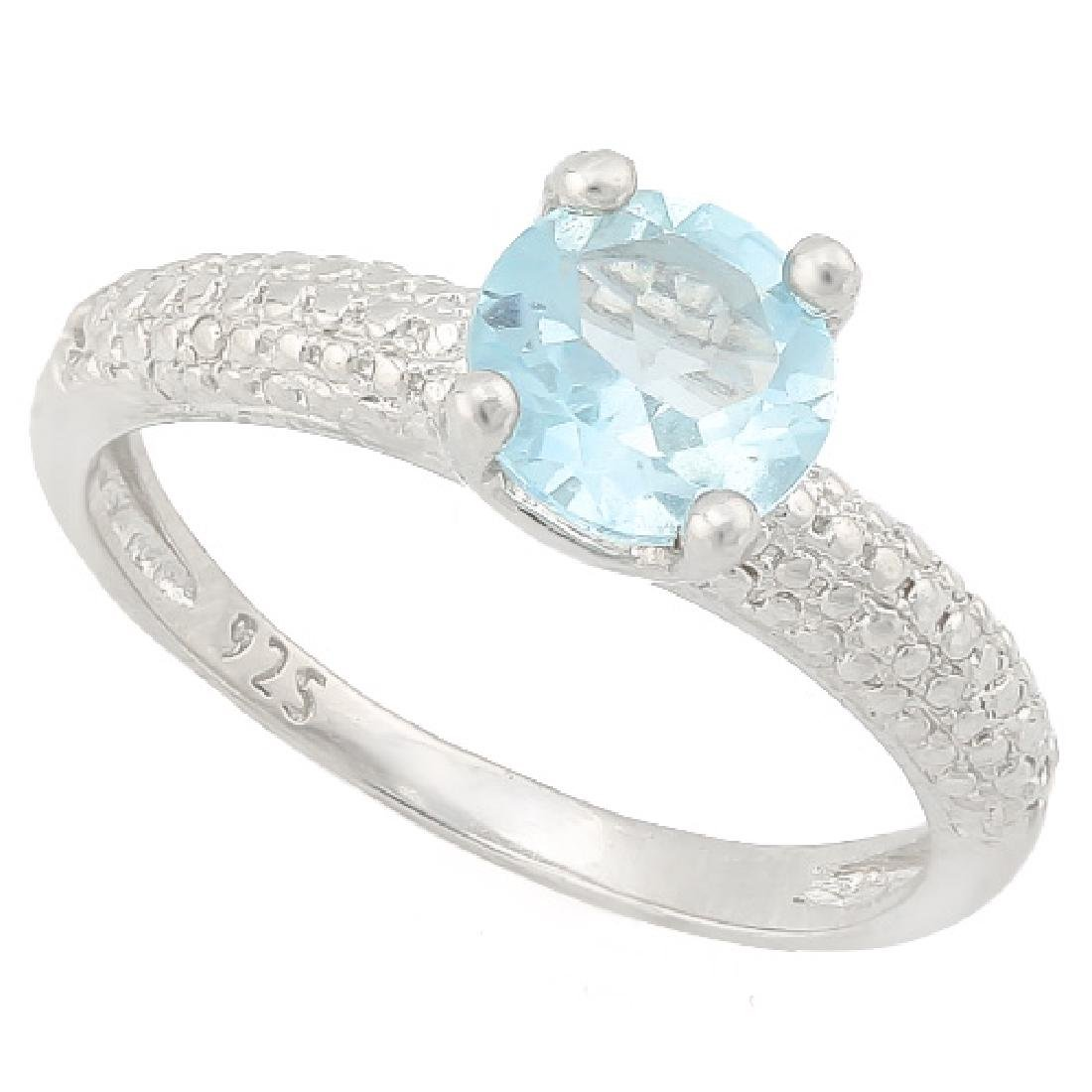 1 1/2 CARAT BABY SWISS BLUE TOPAZ & DIAMOND 925 STERLIN