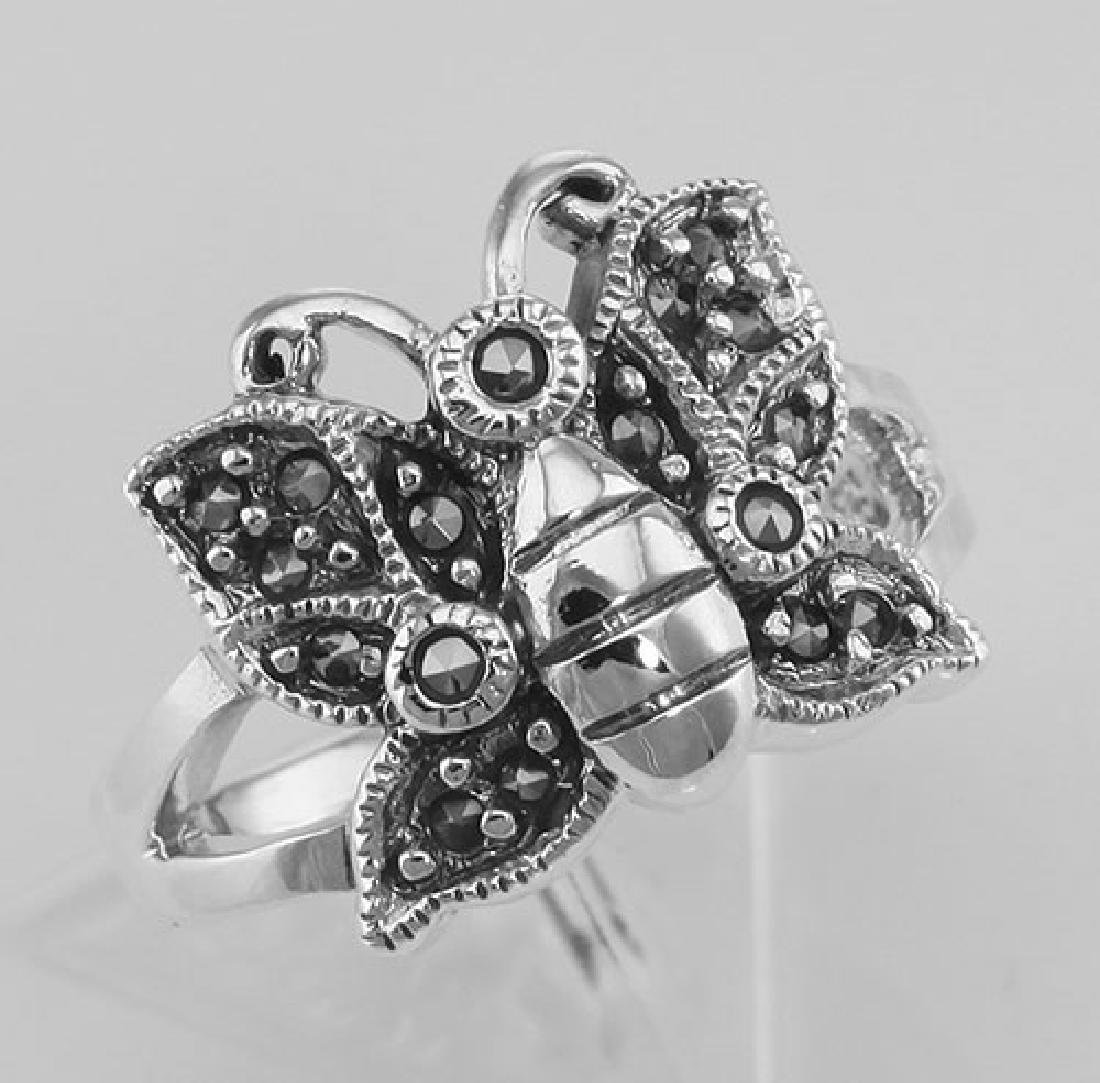 Antique Style Marcasite Butterfly Ring - Sterling Silve