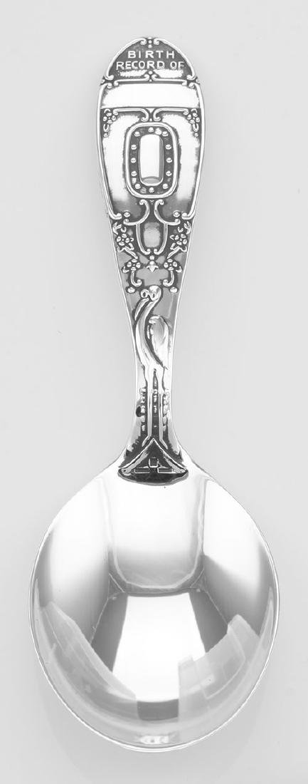 Antique Style Sterling Silver Baby Spoon - Stork Birth