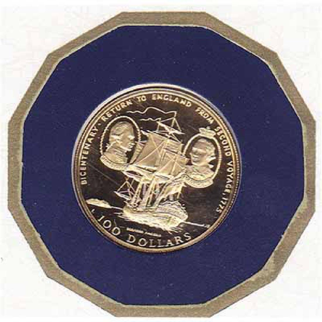 Cook Islands $100 Gold PF 1975 Cook Bicentenary