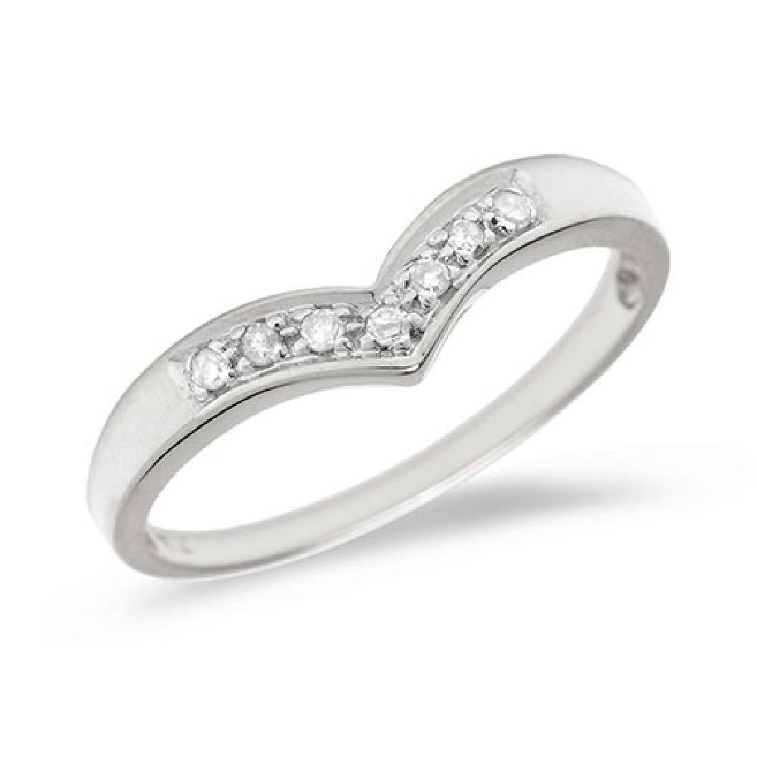 Certified 10K White Gold Diamond Chevron Ring 0.07 CTW