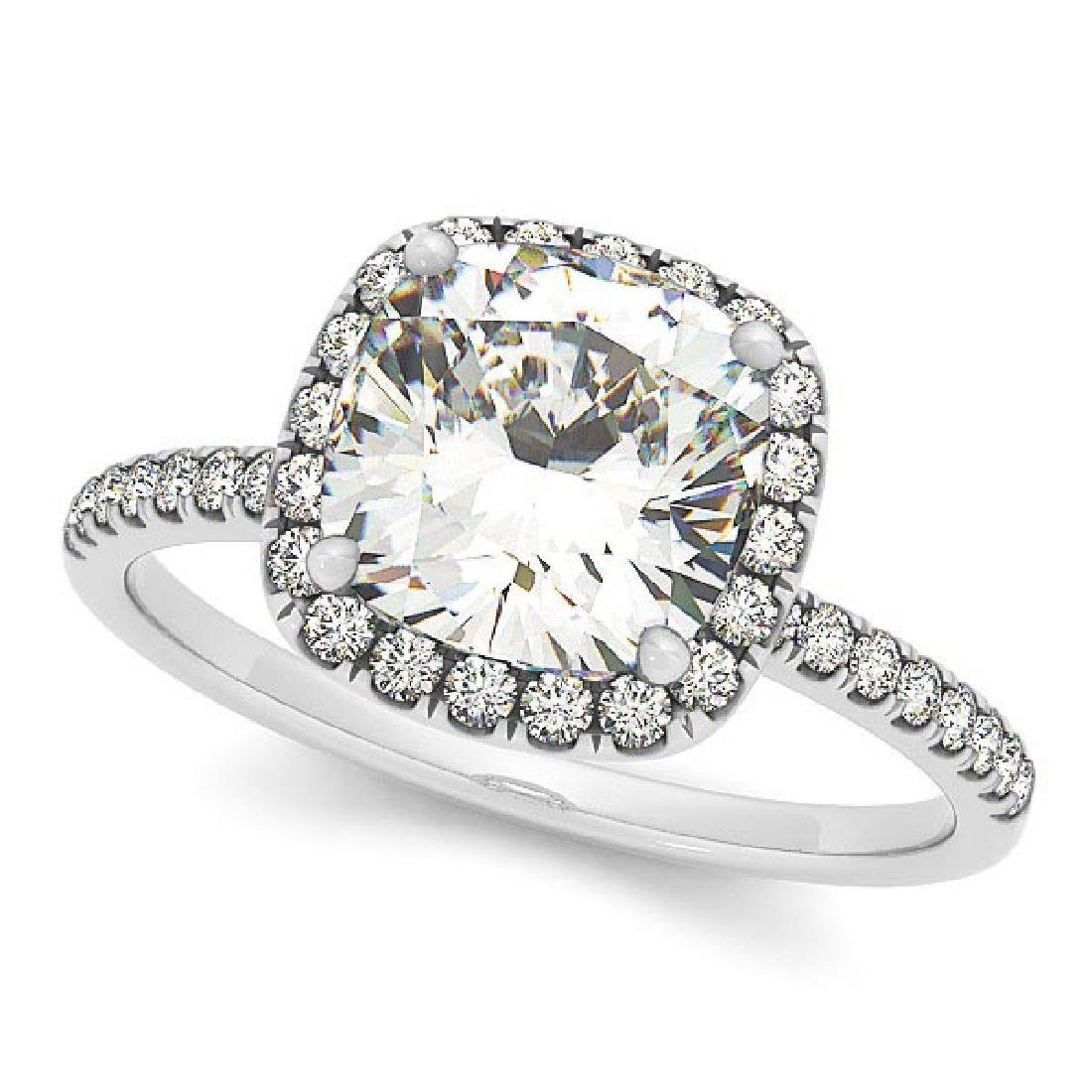 Cushion Diamond Halo Engagement Ring French Pave 14k W.
