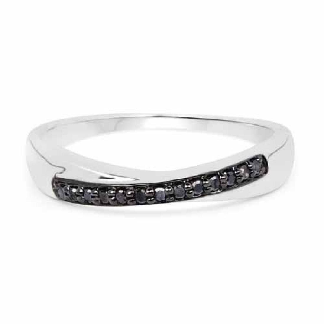 0.09 Carat Genuine Black Diamond .925 Sterling Silver R