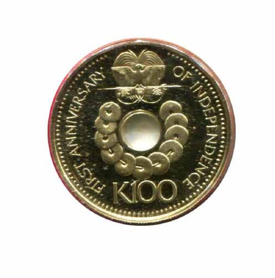 Papua New Guinea 100 kina gold PF 1976 Independence