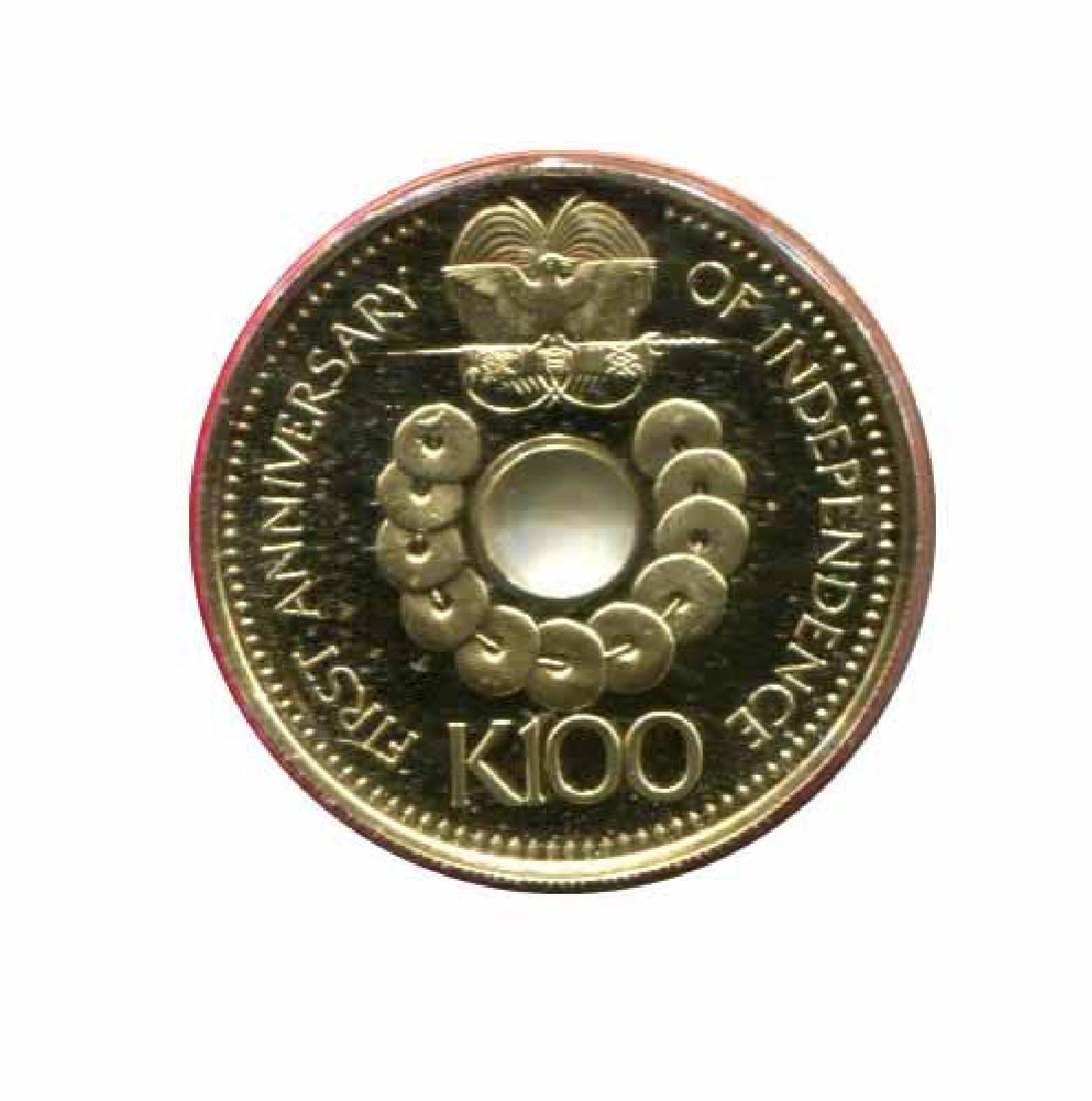 Papua New Guinea 100 kina gold PF 1976 Independence