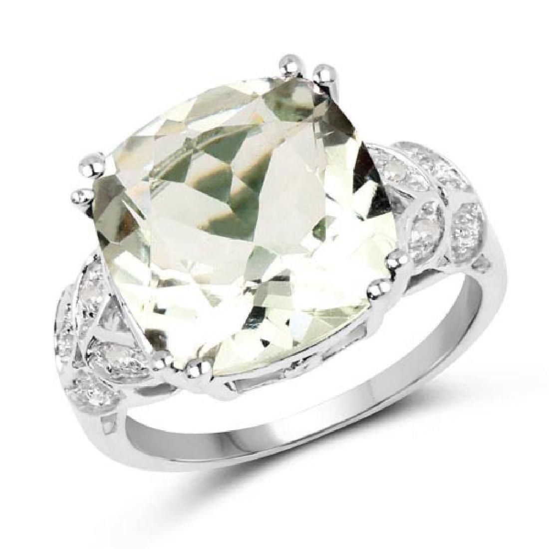 5.52 Carat Genuine Green Amethyst and White Diamond .92