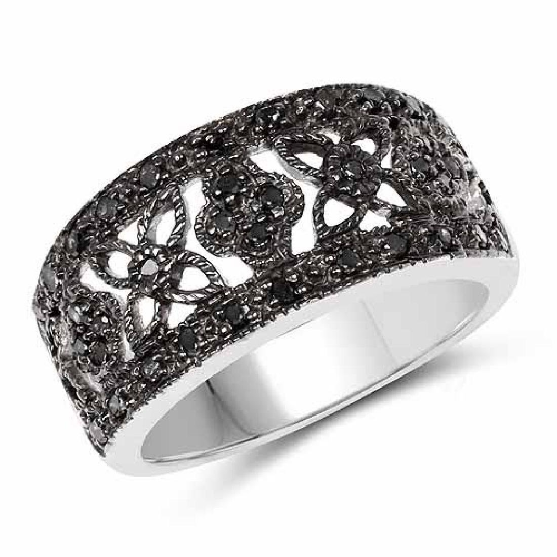 0.28 Carat Genuine Black Diamond .925 Sterling Silver R