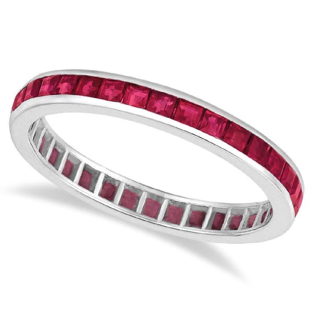 Princess-Cut Ruby Eternity Ring Band 14k White Gold (1.