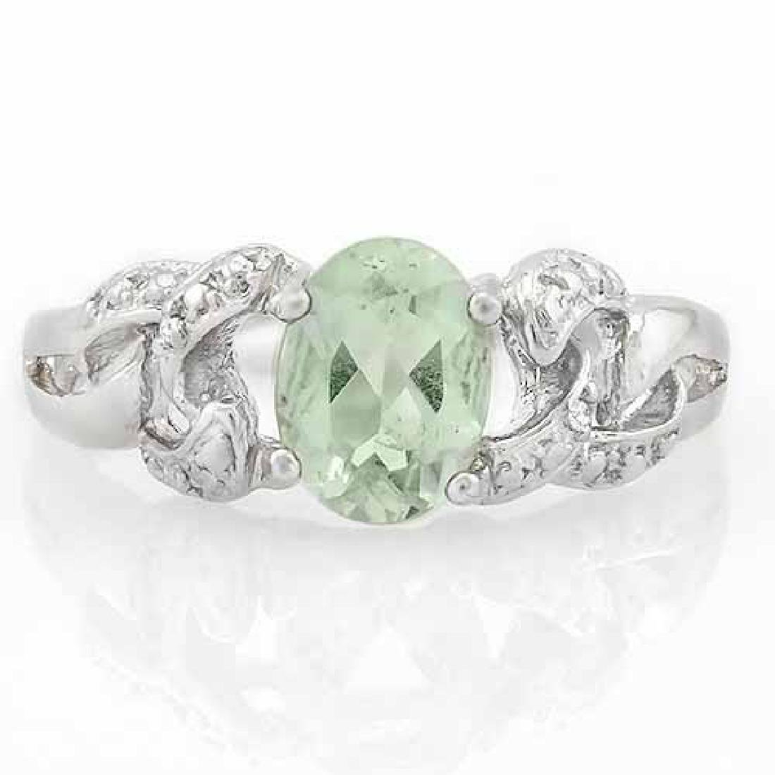 1 CARAT GREEN AMETHYST & DIAMOND 925 STERLING SILVER RI