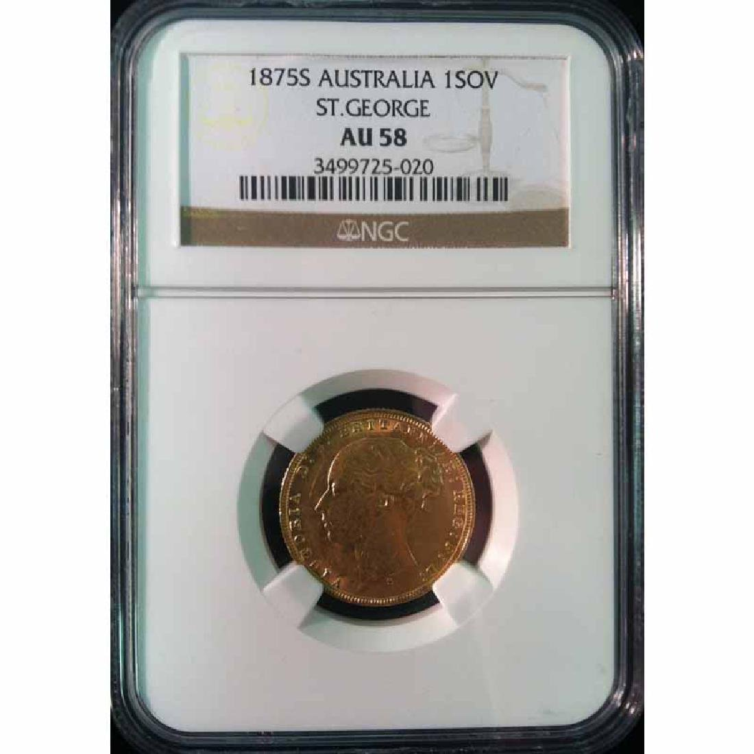 Australia gold sovereign 1875S St. George AU58