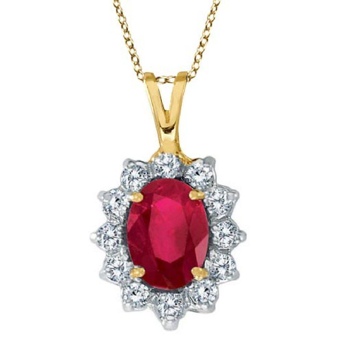 Ruby and Diamond Accented Pendant Necklace 14k Yellow G