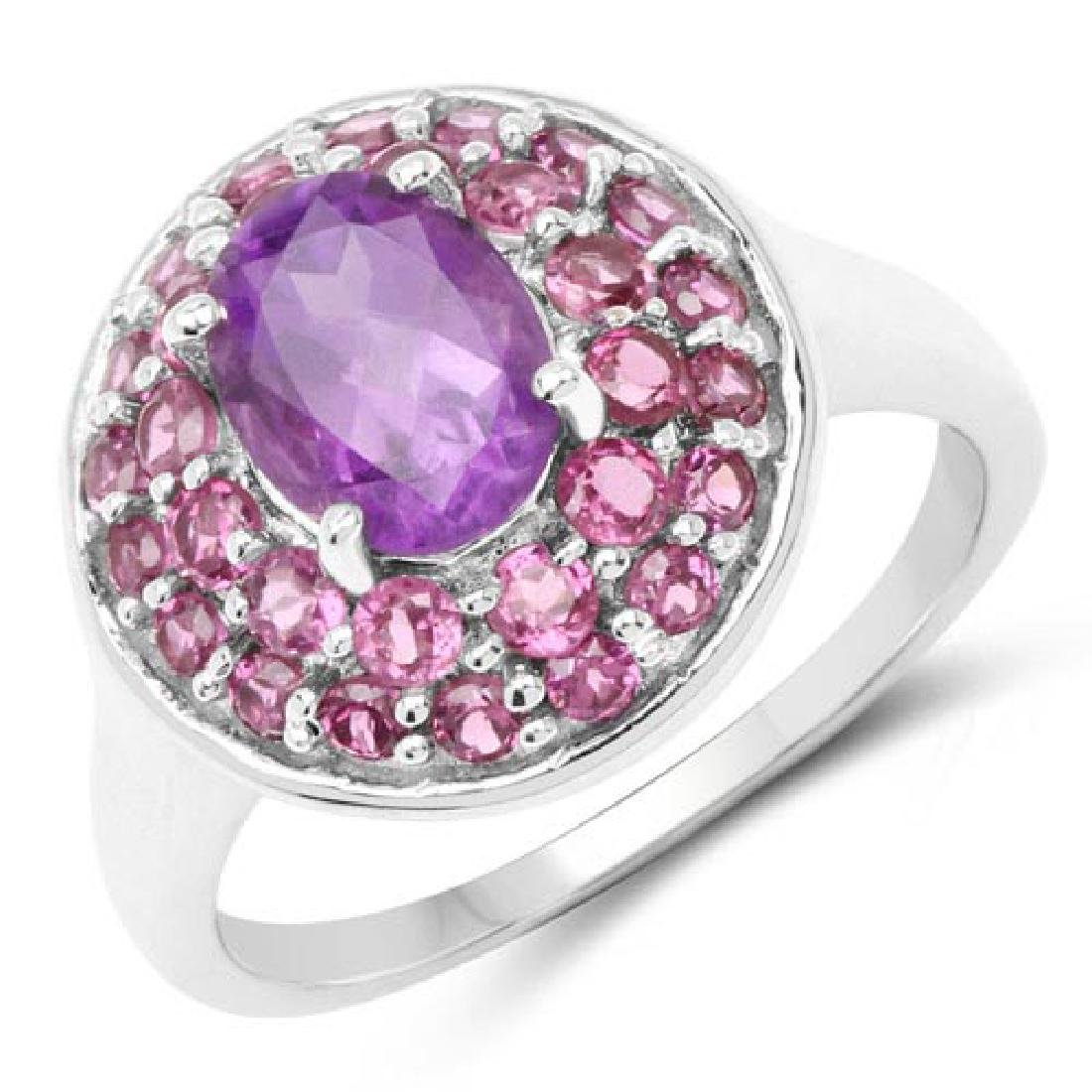 2.48 Carat Genuine Amethyst and Rhodolite .925 Sterling