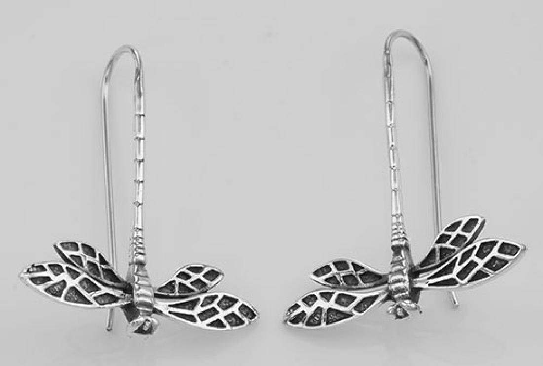 Unique Dragonfly Earrings - Sterling Silver