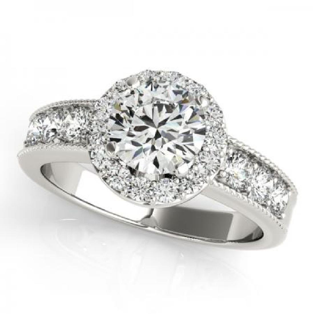 CERTIFIED PLATINUM 1.70 CT G-H/VS-SI1 DIAMOND HALO ENGA