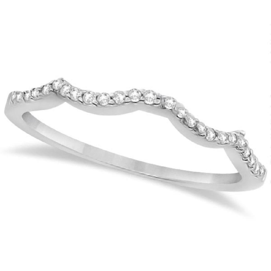 Contour Diamond Accented Wedding Band 14K White Gold (0