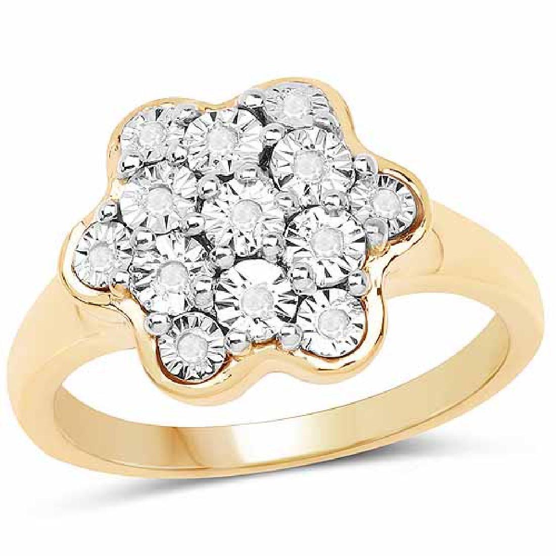 14K Yellow Gold Plated 0.07 Carat Genuine White Diamond