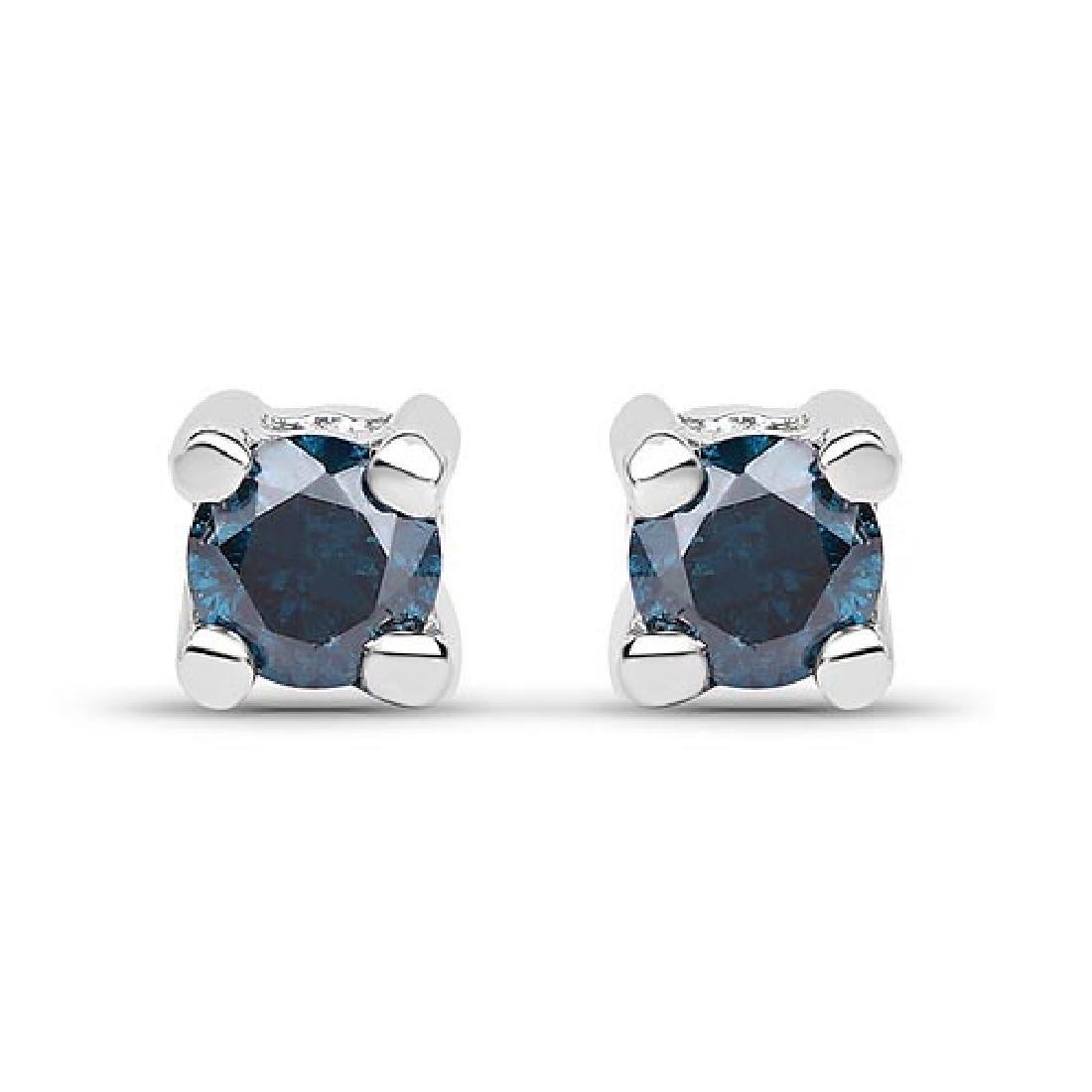 0.18 Carat Genuine Blue Diamond .925 Sterling Silver Ea