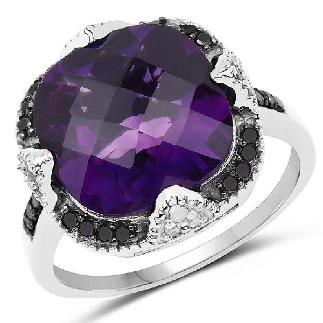 6.12 Carat Genuine Amethyst Black Diamond and White Di