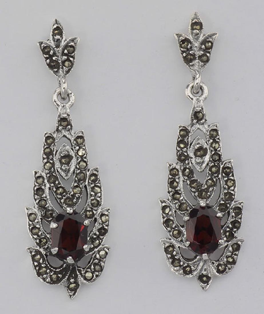 Beautiful Genuine Red Garnet and Marcasite Earrings - S