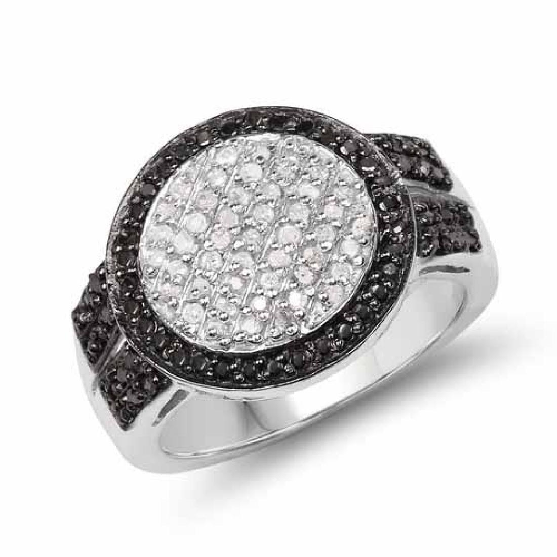0.44 Carat Genuine Black Diamond and White Diamond .925