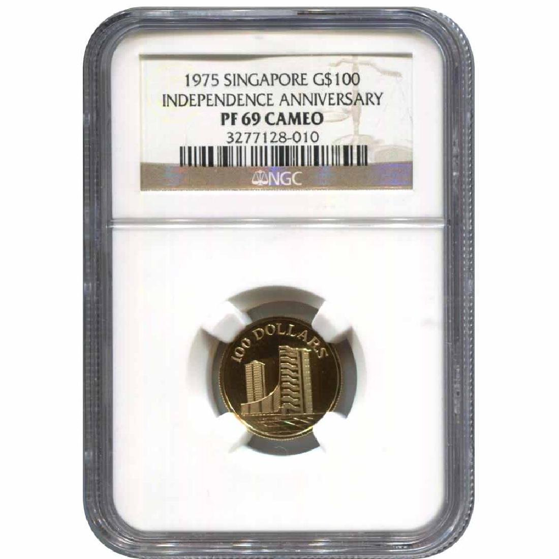 Singapore $100 Gold 1975 PF69 NGC 10th Anniversary of I