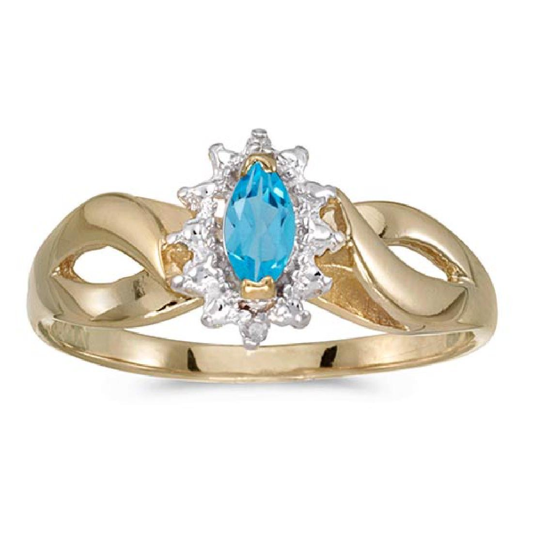 Certified 10k Yellow Gold Marquise Blue Topaz And Diamo