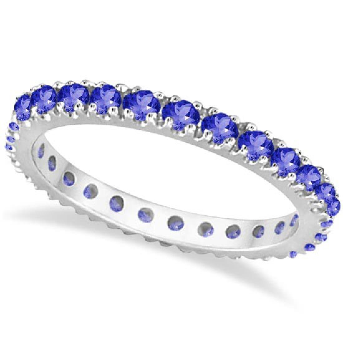 Tanzanite Eternity Stackable Ring Band 14K White Gold (