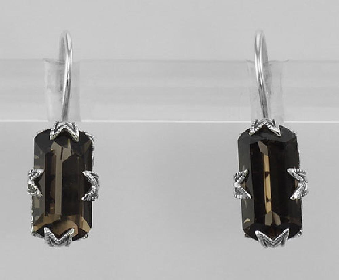 Art Deco Style Smoky Topaz Filigree Earrings - Sterling