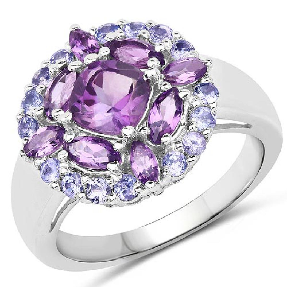 2.19 Carat Genuine Amethyst and Tanzanite .925 Sterling