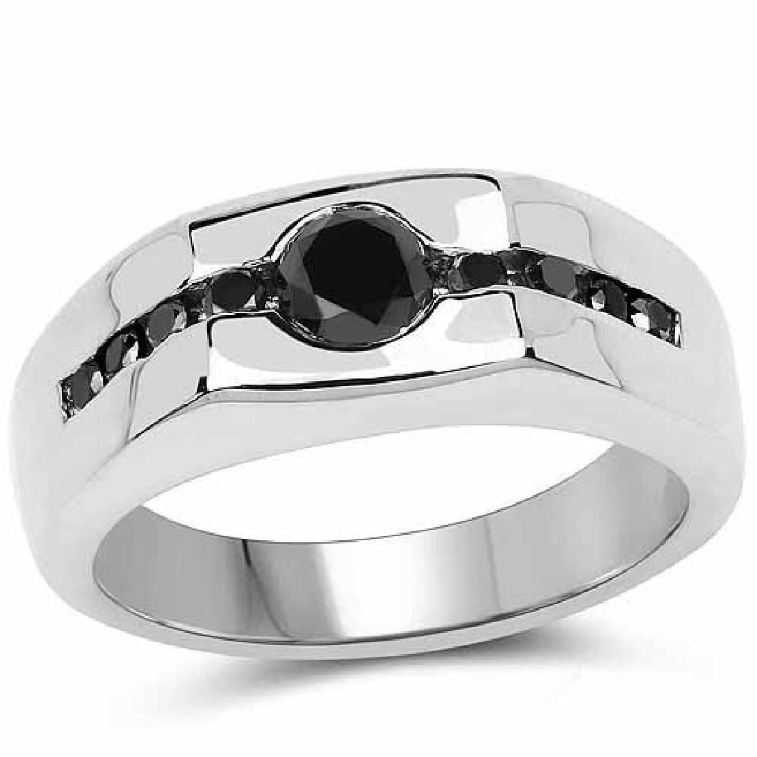 0.74 Carat Genuine Black Diamond .925 Sterling Silver R