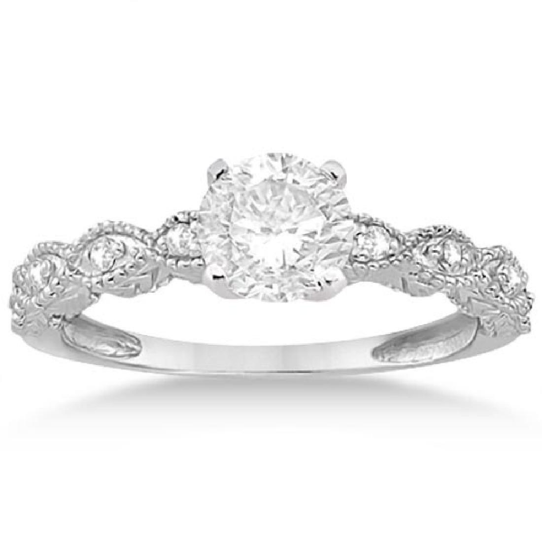 Petite Marquise Diamond Engagement Ring 14k White Gold