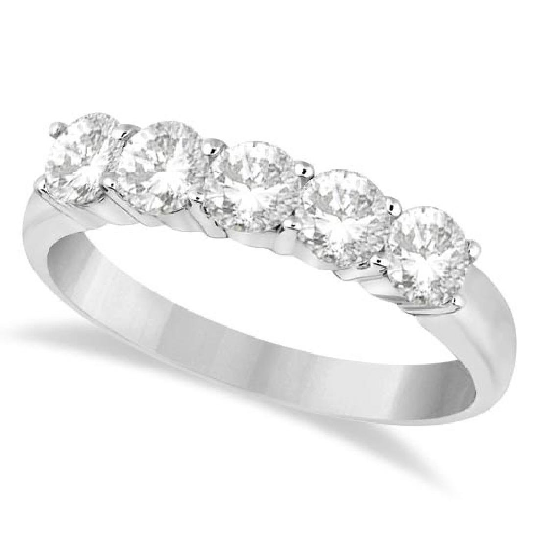 Five Stone Diamond Ring Anniversary Band 14k White Gold